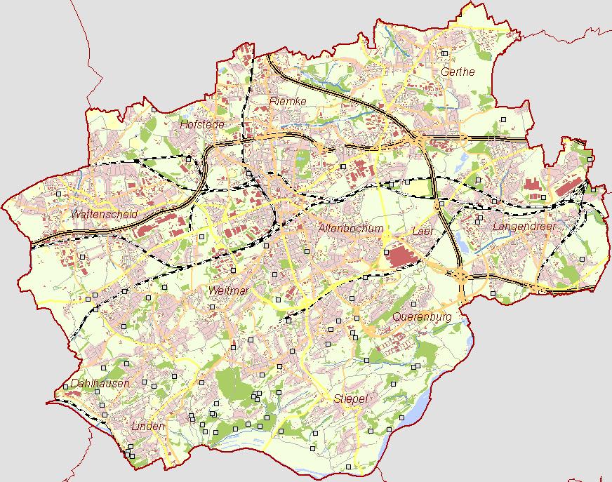 Bochum Karte.Der Frühe Bergbau An Der Ruhr Aktuelle übersichtskarte Stadt Bochum