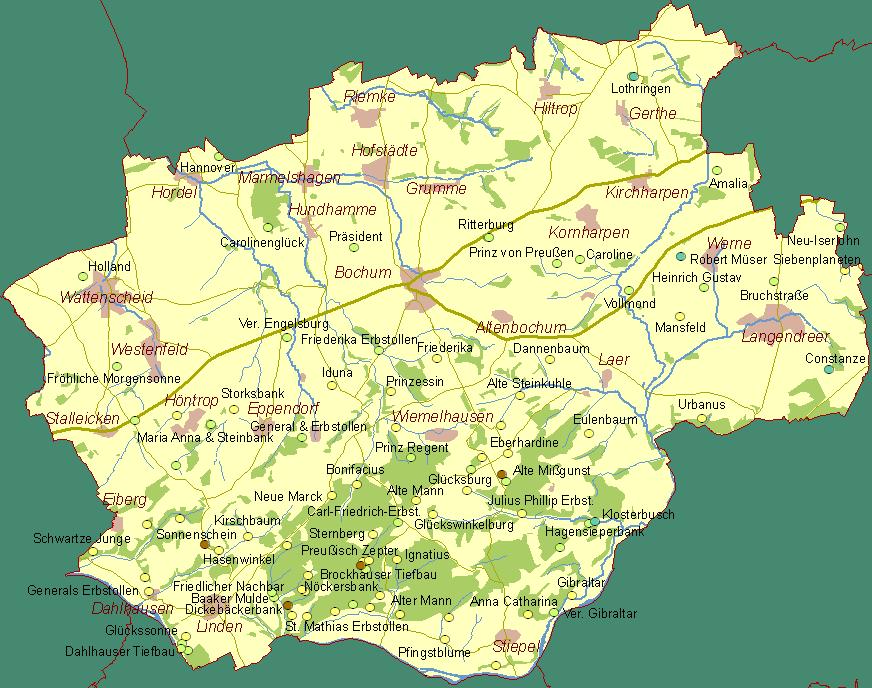 karte bochum Der frühe Bergbau an der Ruhr   Historische Karte Bochum