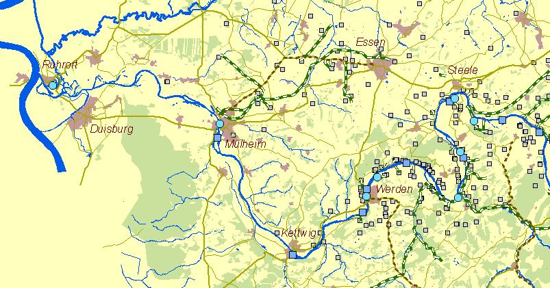Karte Ruhrgebiet.Der Frühe Bergbau An Der Ruhr Historische Karte Ruhr Zwischen