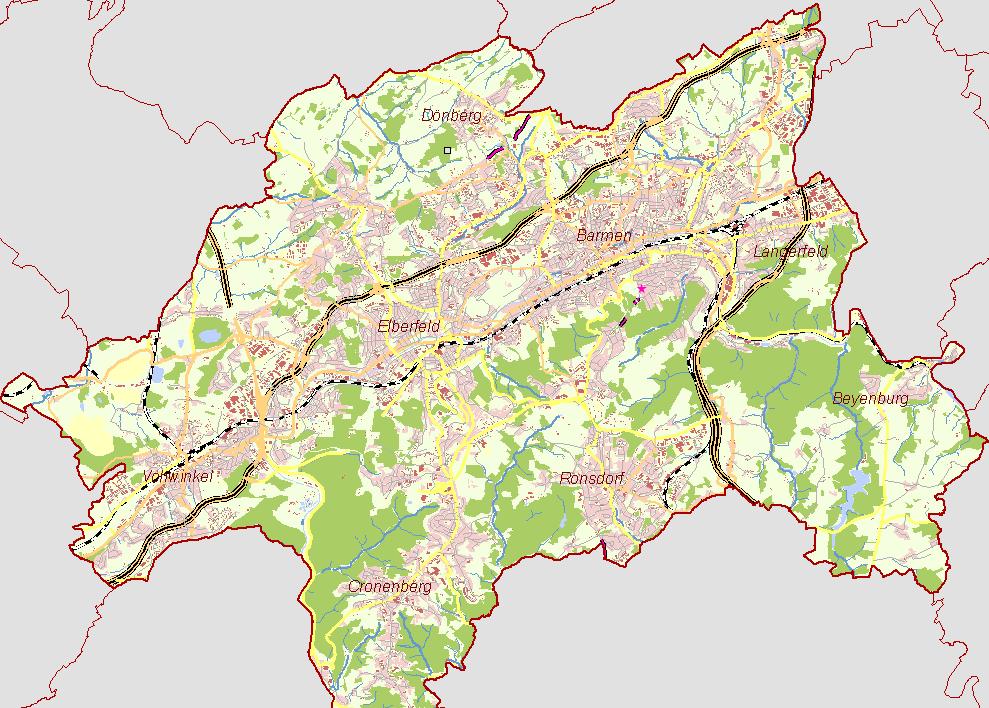 wuppertal karte Der frühe Bergbau an der Ruhr   Aktuelle Übersichtskarte Stadt